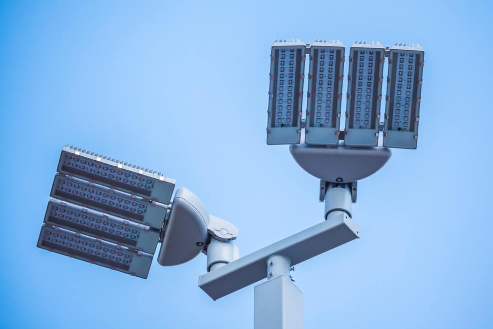 LED lighting upgrade for exterior lights pictured against light blue background.
