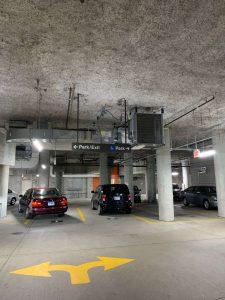 Image of parking garage after led light fixture upgrade