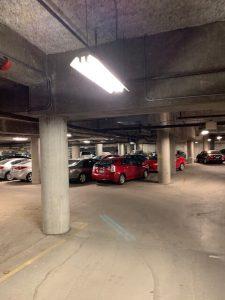 Image of parking garage before led light fixture upgrade