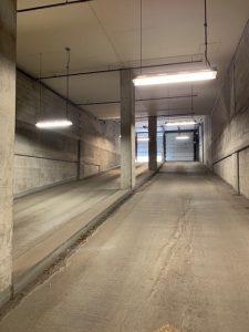 Image of parking garage ramp before led light fixture upgrade