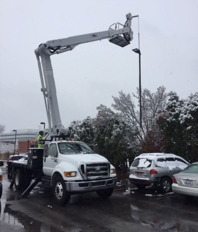 Imperial Lighting crane truck for light pole removal and lighting inspections