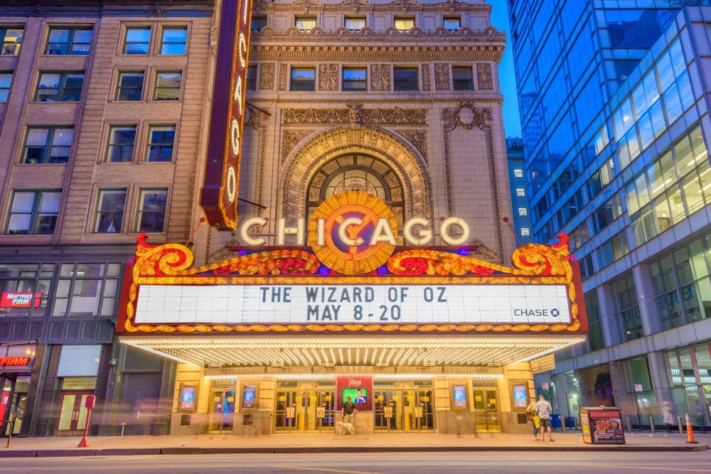 Chicago Theater marquee sign lighting displaying the upcoming shows for that night